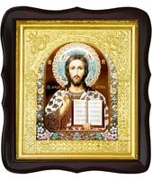 Икона Господь Иисус Христос 17-ФТ-189 26х29 см деревянный фигурный тёмный киот, лик 15х18 эмаль №2, оклад (риза) золото