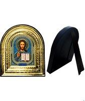 Икона Иисус Христос 32-ПЛ-18 15,5х17,5 см пластмассовый киот, лик 10х12 Софрино узор, оклад (риза) золото.
