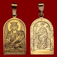 Нательная икона Александра позолота