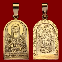 Нательная икона Анастасия позолота