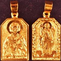 Нательная икона Валерий позолота