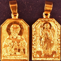 Нательная икона Вячеслав позолота