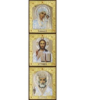 Икона Тройник, лик Софрино белая одежда 24-В-1 31х13 см деревянный прямой киот, лик 30х12 Софрино белая одежда, оклад (риза) золото