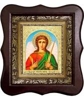 Икона Святой Ангел Хранитель 1012-ФБ-2 17х20 см деревянный фигурный киот, лик 10х12 арочный поясной Софрино, оклад (риза) золото