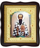 Икона Василий Великий 20-ФТ-193 26х29 см деревянный фигурный тёмный киот, лик 15х18, оклад (риза) золото
