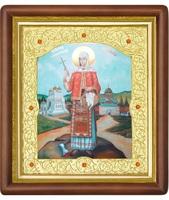 Икона Sfanta Mucenita Filofteia (Филофея) 20-П-185 24х27 см деревянный прямой киот, лик 15х18, оклад (риза) золото