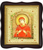 Икона Семистрельная Божья Матерь 20-ФТ-176 26х29 см деревянный фигурный тёмный киот, лик 15х18 Софрино эмаль, оклад (риза) золото