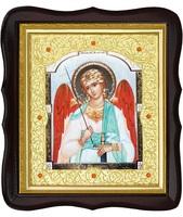 Икона Ангел Хранитель 20-ФТ-177 26х29 см деревянный фигурный тёмный киот, лик 15х18, оклад (риза) золото