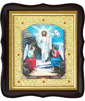 Икона Воскресение Христово 20-ФТ-178 26х29 см деревянный фигурный тёмный киот, лик 15х18, оклад (риза) золото