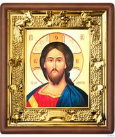 Икона Иисус Христос, лик 15х18, арт. 31-П-21 24х27 см деревянный прямой киот, лик 15х18 Софрино византия, оклад (риза) золото