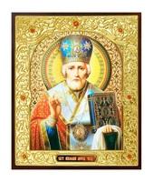 Икона Николай Чудотворец 22-Д-313 в подарочной упаковке 11х13 см деревянный прямой киот на подставке, лик 10х12 Софрино эмаль, оклад (риза) золото