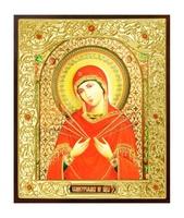 Икона Семистрельная Божья Матерь 22-Д-314 в подарочной упаковке 11х13 см деревянный прямой киот на подставке, лик 10х12 Софрино эмаль, оклад (риза) золото