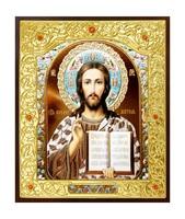 Икона Господь Иисус Христос 22-Д-317 в подарочной упаковке 11х13 см деревянный прямой киот на подставке, лик 10х12 эмаль №2, оклад (риза) золото