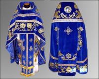 Облачение синее вышивка Иерейское парча габардин