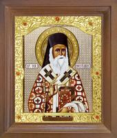 Икона Sf. Nectarie (Нектарий) 25-П-319 12х14 см деревянный прямой киот, лик 10х12, оклад (риза) золото