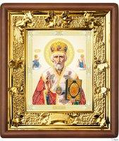 Икона Николай Чудотворец 31-П-25 24х27 см деревянный прямой киот, лик 15х18 Софрино византия, оклад (риза) золото