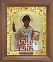 Икона Спиридон Тримифунтский 26-П-171 17х20 см деревянный прямой киот, лик 15х18, оклад (риза) золото