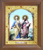 Икона Петр и Павел 26-П-181 17х20 см деревянный прямой киот, лик 15х18, оклад (риза) золото