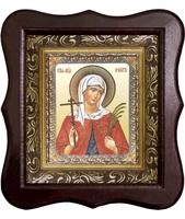 Икона Святая мученица Валентина Фигурный деревянный светлый киот размером 130х260х40 мм, со стеклом. Внутри багетная рамка с ОБЬЕМНЫМ -3 D лик 15х18см
