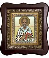 Икона Геннадий Цареградский Фигурный деревянный светлый киот размером 130х260х40 мм, со стеклом. Внутри багетная рамка с ОБЬЕМНЫМ -3 D лик 15х18см