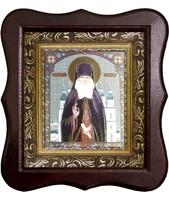 Икона Лаврентий Черниговский  Фигурный деревянный светлый киот размером 130х260х40 мм, со стеклом. Внутри багетная рамка с ОБЬЕМНЫМ -3 D лик 15х18см