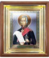 Икона Федор Ушаков 27-П-184 22х25 см деревянный прямой киот, лик 15х18, оклад (риза) золото