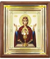 Икона Неупиваемая чаша 27-П-194 22х25 см деревянный прямой киот, лик 15х18, оклад (риза) золото