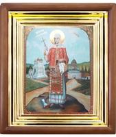 Икона Sfanta Mucenita Filofteia (Филофея) 27-П-185 22х25 см деревянный прямой киот, лик 15х18, оклад (риза) золото