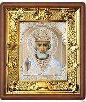 Икона Николая Чудотворца 31-П-29 24х27 см деревянный прямой киот, лик 15х18 Софрино белая одежда, оклад (риза) золото