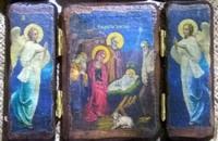 Икона-складень под старину Рождество Христово 002