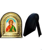 Икона Святой Ангел Хранитель 32-ПЛ-2 15,5х17,5 см пластмассовый киот, лик 10х12 арочный поясной Софрино, оклад (риза) золото.