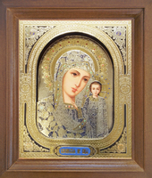 Икона Пресвятая Богородица Казанская 26-3д-П-2 17х20 см деревянный прямой киот, лик 3d 15х18 Софрино узор, оклад (риза) золото 01