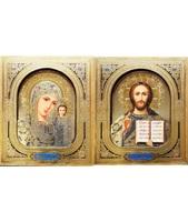 Икона 3-Д Венчальная пара Казанская Богородица и Спаситель, лик 15х18, арт. 3д-ВП-1 15х18х0.8 см, лик 3d 15х18 Софрино узор, на подвеске