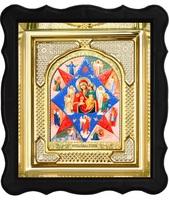 Икона Неопалимая Купина 3-ФП-41 17х19 см фигурный пластиковый киот, лик 10х12 Софрино арочный, оклад (риза) золото.