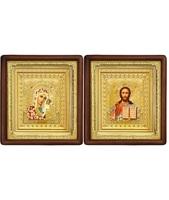 Венчальная пара Икона Спасителя и Казанской Божьей Матери 19-ВП-3 21х24 см деревянный прямой глубокий киот, лик 10х12 Софрино цветная одежда, оклад (риза) золото