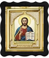 Икона Иисус Христос 3-ФП-22 17х19 см фигурный пластиковый киот, лик 10х12 Тропарь, оклад (риза) золото.