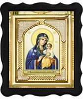 Икона Неувядаемый цвет 3-ФП-43 17х19 см фигурный пластиковый киот, лик 10х12 Тропарь, оклад (риза) золото.