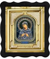 Икона Семистрельная Божья Матерь 3-ФП-53 17х19 см фигурный пластиковый киот, лик 10х12 Софрино узор, оклад (риза) золото.