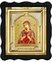 Икона Семистрельной Божией Матери 3-ФП-54 17х19 см фигурный пластиковый киот, лик 10х12 Софрино цветная одежда, оклад (риза) золото.