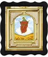 Икона Спорительница хлебов 3-ФП-57 17х19 см фигурный пластиковый киот, лик 10х12 Тропарь, оклад (риза) золото.