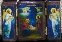 Икона-складень под старину Рождество Христово 003