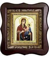 Иверская икона Божьей Матери 1012-ФБ-34 17х20 см деревянный фигурный киот, лик 10х12, оклад (риза) золото