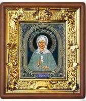 Икона Матрона Московская 31-П-38 24х27 см деревянный прямой киот, лик 15х18 Софрино узор, оклад (риза) золото