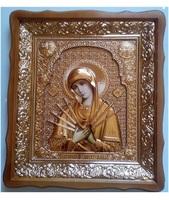 Икона Семистрельная Божья Матерь 4538-Р-2 45х38 см, деревянный фигурный киот, в ризе