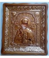 Икона Николай Чудотворец 4538-Р-1 45х38 см, деревянный фигурный киот, в ризе