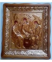 Икона Святая Троица ветхозаветная 4538-Р-4 45х38 см, деревянный фигурный киот, в ризе