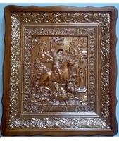 Икона Святой Георгий Победоносец 4538-Р-6 45х38 см, деревянный фигурный киот, в ризе