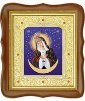 Остробрамская икона 20-ФС-45 26х29 см деревянный фигурный светлый киот, лик 15х18 Тропарь, оклад (риза) золото