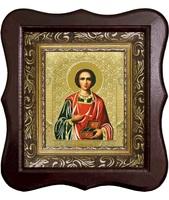 Икона Пантелеймон Целитель 1012-ФБ-48 17х20 см деревянный фигурный киот, лик 10х12 Софрино цветная одежда, оклад (риза) золото