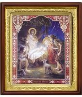 Икона Рождество Христово 23-П-69 ( Двунадесятые праздники ) 25х29 см деревянный прямой киот, лик 20х24, оклад (риза) золото